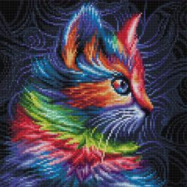 Diamond painting kit - Colourful kitten