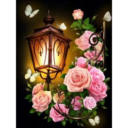 M AZ-1721 Diamond painting kit - Lantern and roses