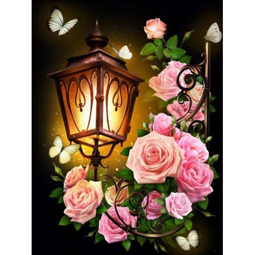 Diamond painting kit - Lantern and roses