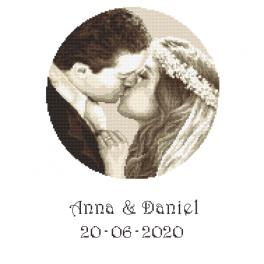 ZN 10277 Set with tapestry and mouline - Wedding memory - Wedding couple