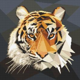 Cross stitch kit - Mosaic tiger