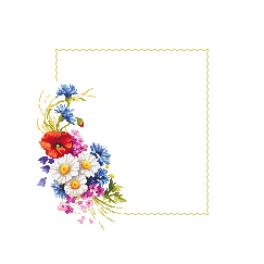 ZU 10431 Cross stitch kit - Napkin with wild flowers