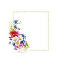 Cross stitch kit with mouline and napkin - Napkin with wild flowers