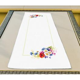 Cross stitch kit - Table runner with wild flowers