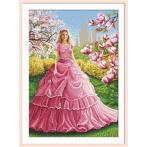 Cross stitch kit with mouline and beads - Magnolia lady