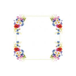 ZU 10433 Cross stitch kit - Tablecloth with wild flowers