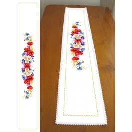 Cross stitch kit with a runner - Long table runner with wild flowers
