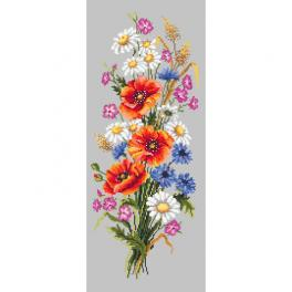 ZI 10280 Cross stitch kit with mouline and beads - Bunch of wild flowers