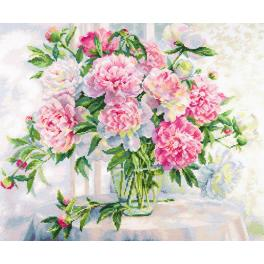 Cross stitch kit - Peonies by the window