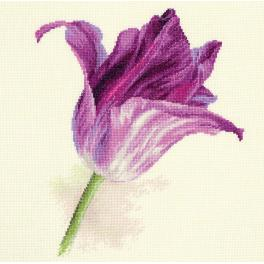 Cross stitch kit - Tulips - lilac velvet