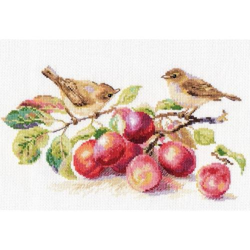 ALI 5-17 Cross stitch kit - Warbles & plums