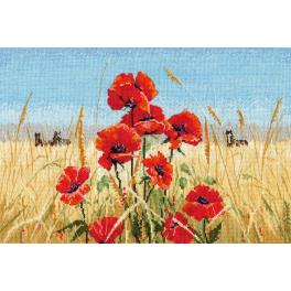 OV 1010 Cross stitch kit - Summer, field, poppies