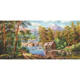 Cross stitch kit - Landscape with a watermill