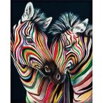 M AZ-1556 Diamond painting kit - Colourful zebras