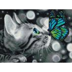 Diamond painting kit - Bengal cat and butterfly