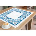 Cross stitch kit with mouline and napkin - Napkin with flowers
