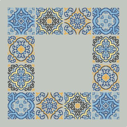 Cross stitch pattern - Napkin with tiles