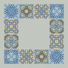 Cross stitch kit with mouline and napkin - Napkin with tiles