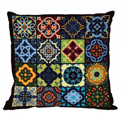 ONLINE pattern pdf - Pillow - Colourful tiles