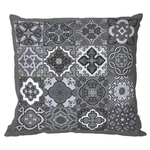 Cross stitch pattern - Pillow - Gray tiles
