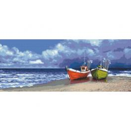 Cross stitch kit - Fishing boats by the sea
