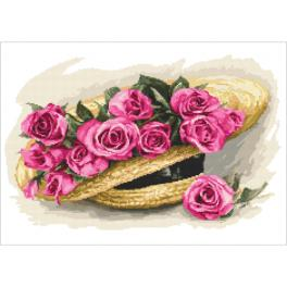 Cross stitch pattern - Bouquet of roses in a hat