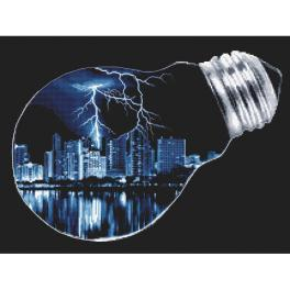 GC 10281 Graphic pattern - City in a light bulb