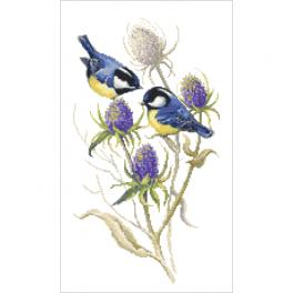 ZN 10437 Cross stitch kit with tapestry - Tits and thistles