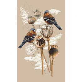W 10438 Cross stitch pattern PDF - Finches and poppies