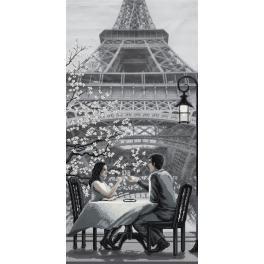 NCB 0105 Cross stitch kit with printed background - Paris - city of love. Youth