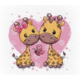 Cross stitch kit - Giraffes in love