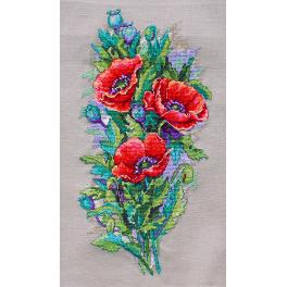 MER K-81 Cross stitch kit - Vintage poppies