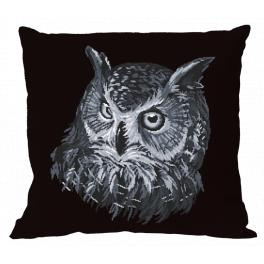 W 10636-01 ONLINE pattern pdf - Pillow - Gray owl