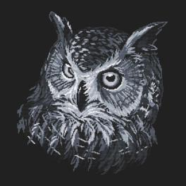 Cross stitch pattern - Gray owl
