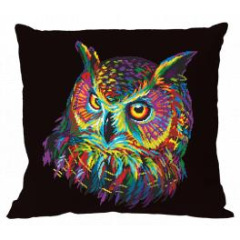 W 10635-01 ONLINE pattern pdf - Pillow - Colourful owl