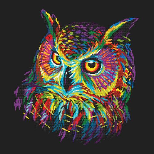 Cross stitch kit - Colourful owl