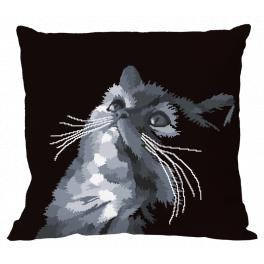 W 10638-01 ONLINE pattern pdf - Pillow - Gray cat