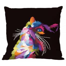 W 10637-01 ONLINE pattern pdf - Pillow - Colourful cat