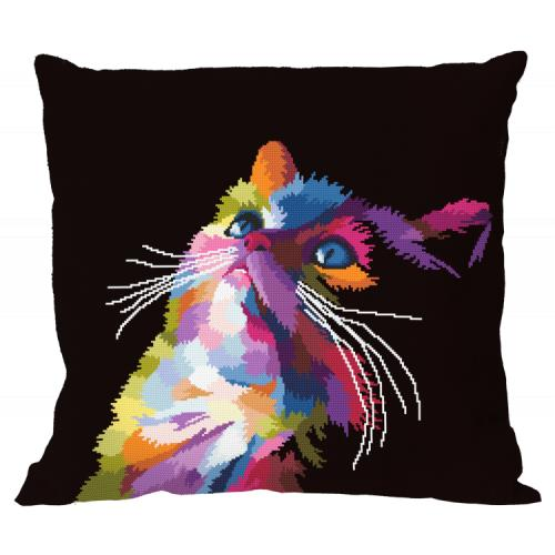 Cross stitch kit - Pillow - Colourful cat