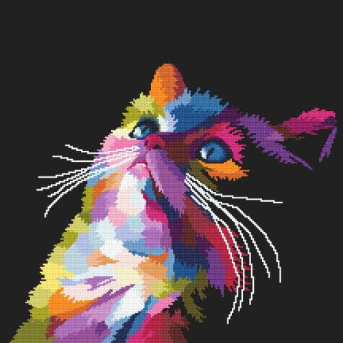 ONLINE pattern - Colourful cat