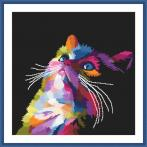 Set with tapestry and mouline - Colourful cat