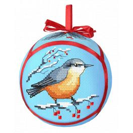 Cross stitch kit - Christmas ball with a bird