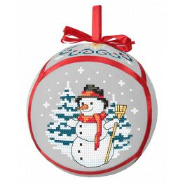 ZU 10289 Cross stitch kit - Christmas ball with a snowman