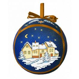 Cross stitch kit - Christmas ball with a town