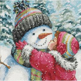 DIM 70-08833 Cross stitch kit - Kiss for a snowman
