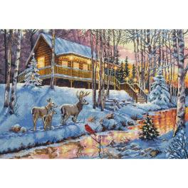 DIM 70-08976 Cross stitch kit - House in the woods