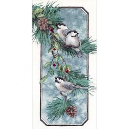 DIM 3199 Kit with printed pattern, mouline and printed pattern - Titmouse in winter