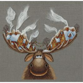 PAPZ 7103 Cross stitch set - Christmas moose