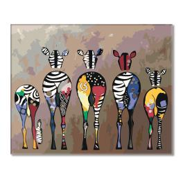 Painting by numbers kit - Herd of zebras