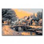 CZ AB607 Painting by numbers kit - Bridge over a frozen river